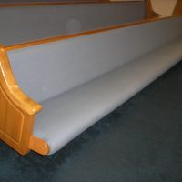 18' Oak and Fabric Church Pews 43 in total available