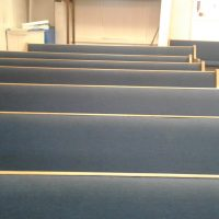 Royal Blue padded covered wood pews for sale