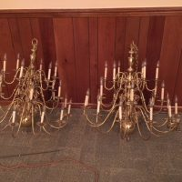 10 Beacon Hill 24 light Chandelier in Polished Brass and 12-3 light candle wall lights