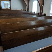 26 Oak Used Pews with padded Blue seat - good condition, each 13 Feet Long, back and legs solid oak